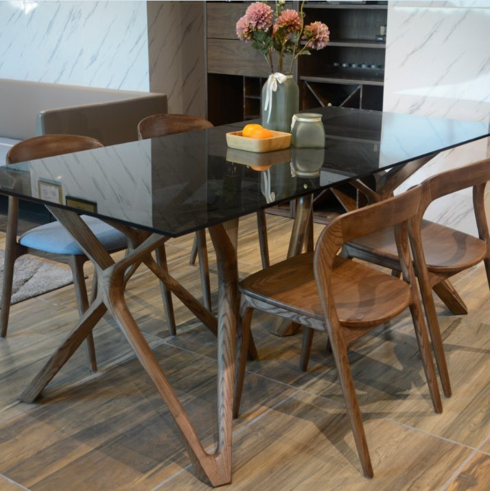 Wooden Dining Table, Glass Dining Room Table With Wood Base