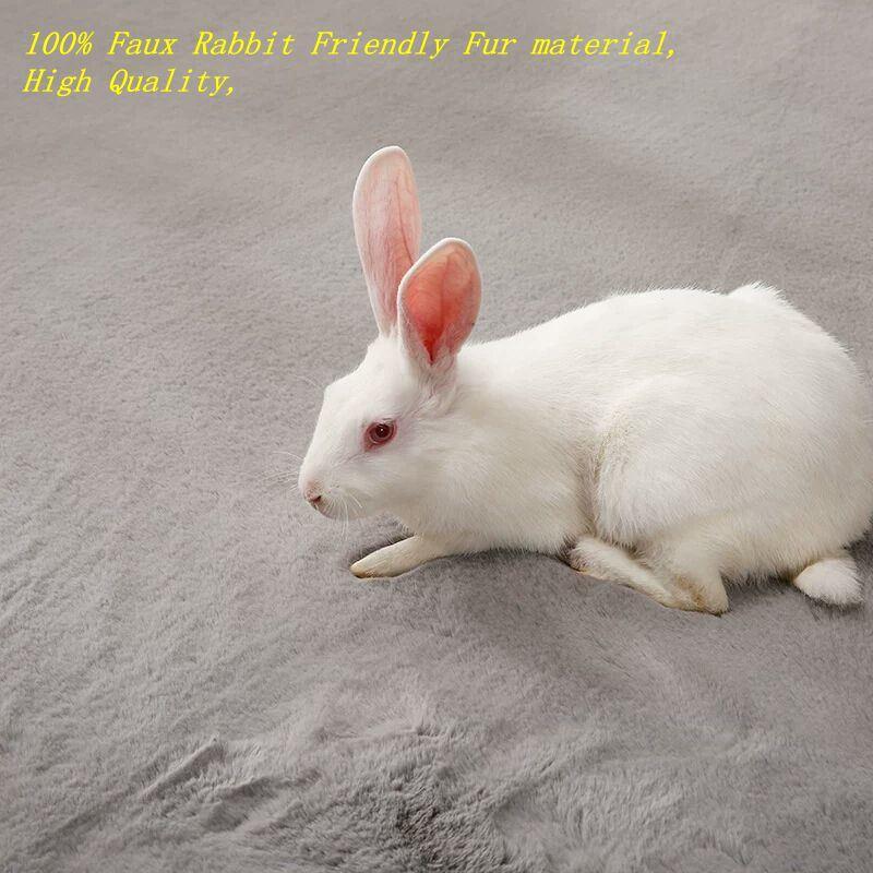 China Super Market Soft Polyester Faux Rabbit Fur Rugs Carpets