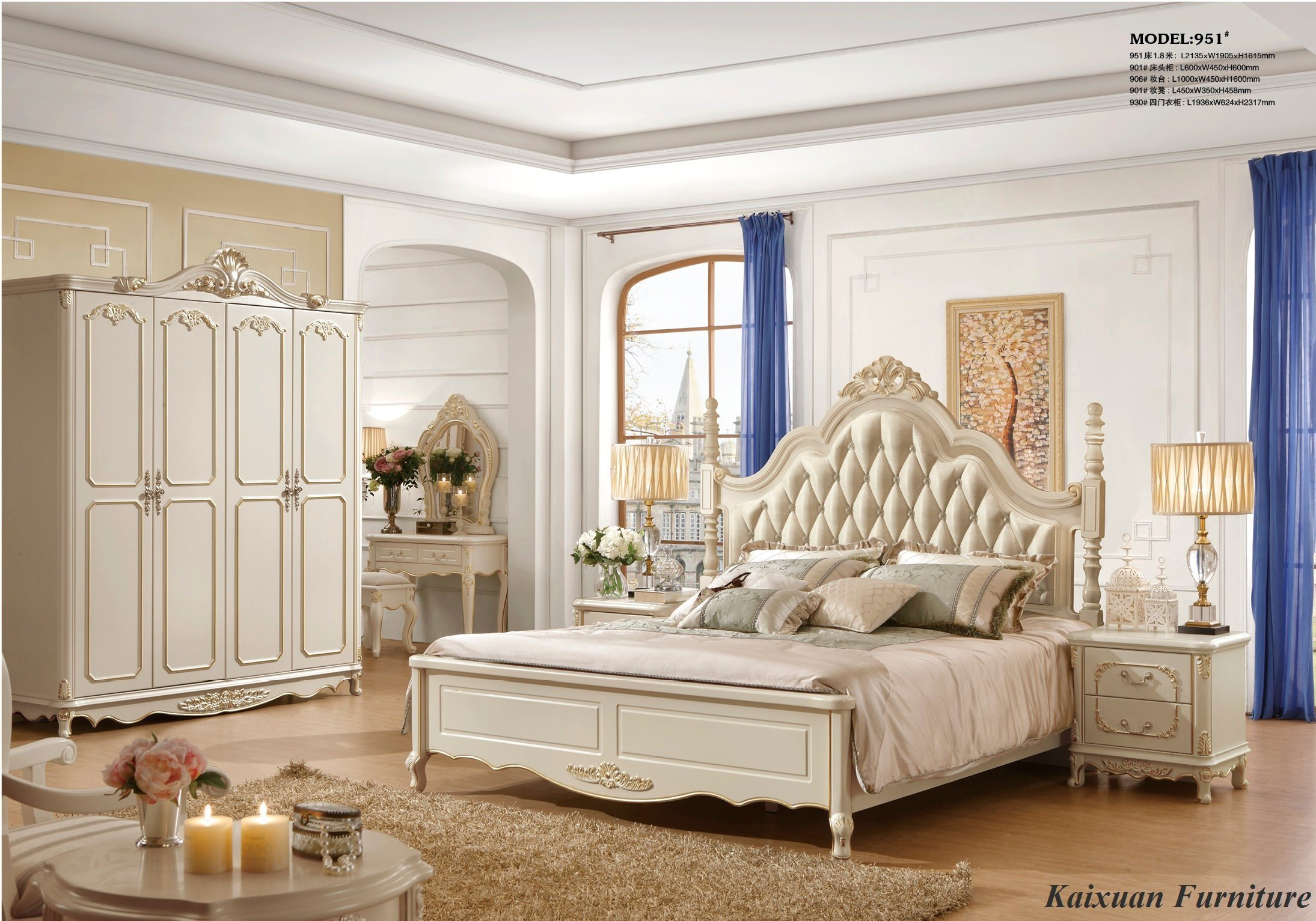 [Hot Item] Luxury White Bedroom Furniture King Beds for Villa