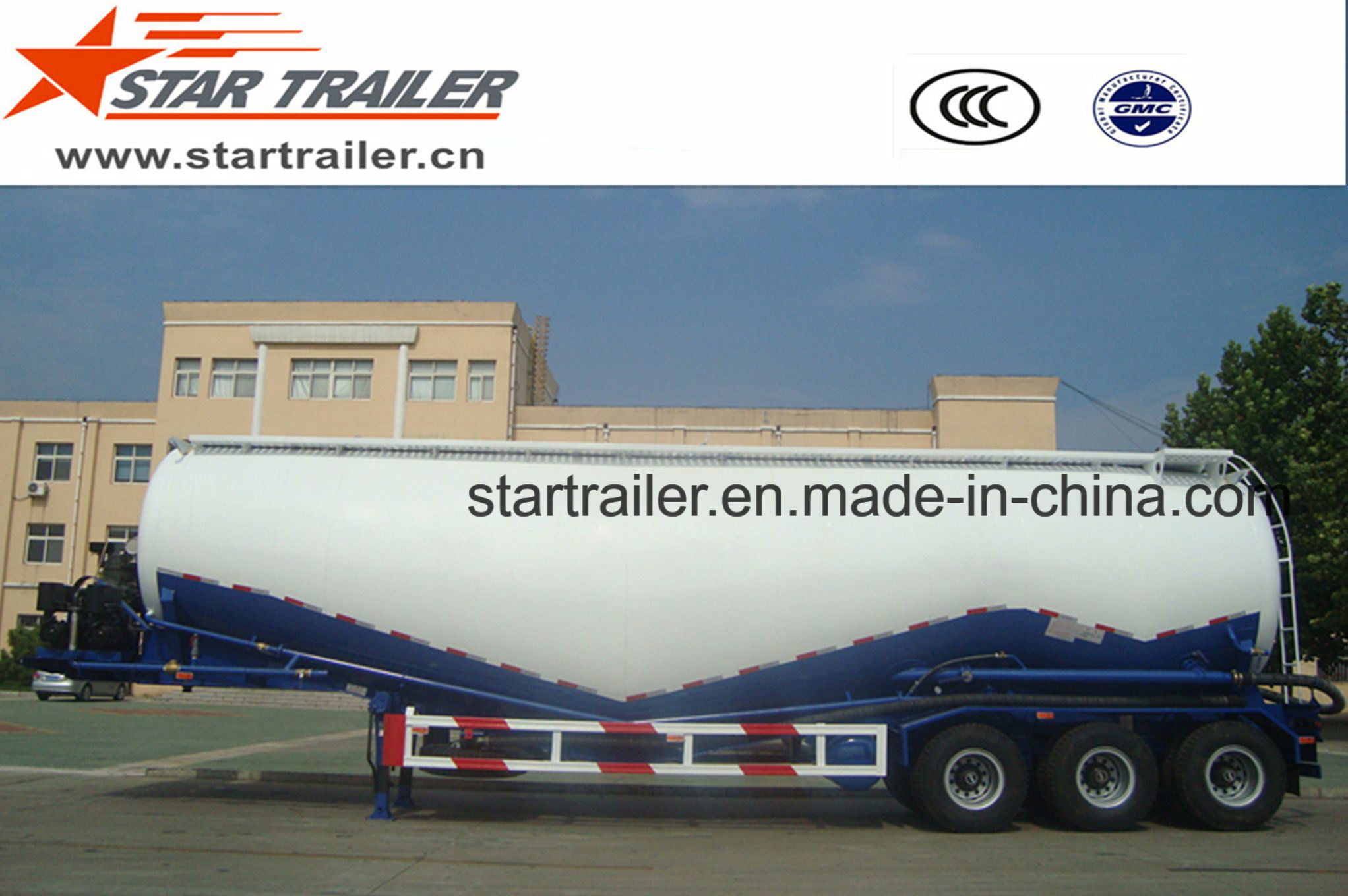 3 Axles 55 Cbm Cement Transport Tanker Trailer