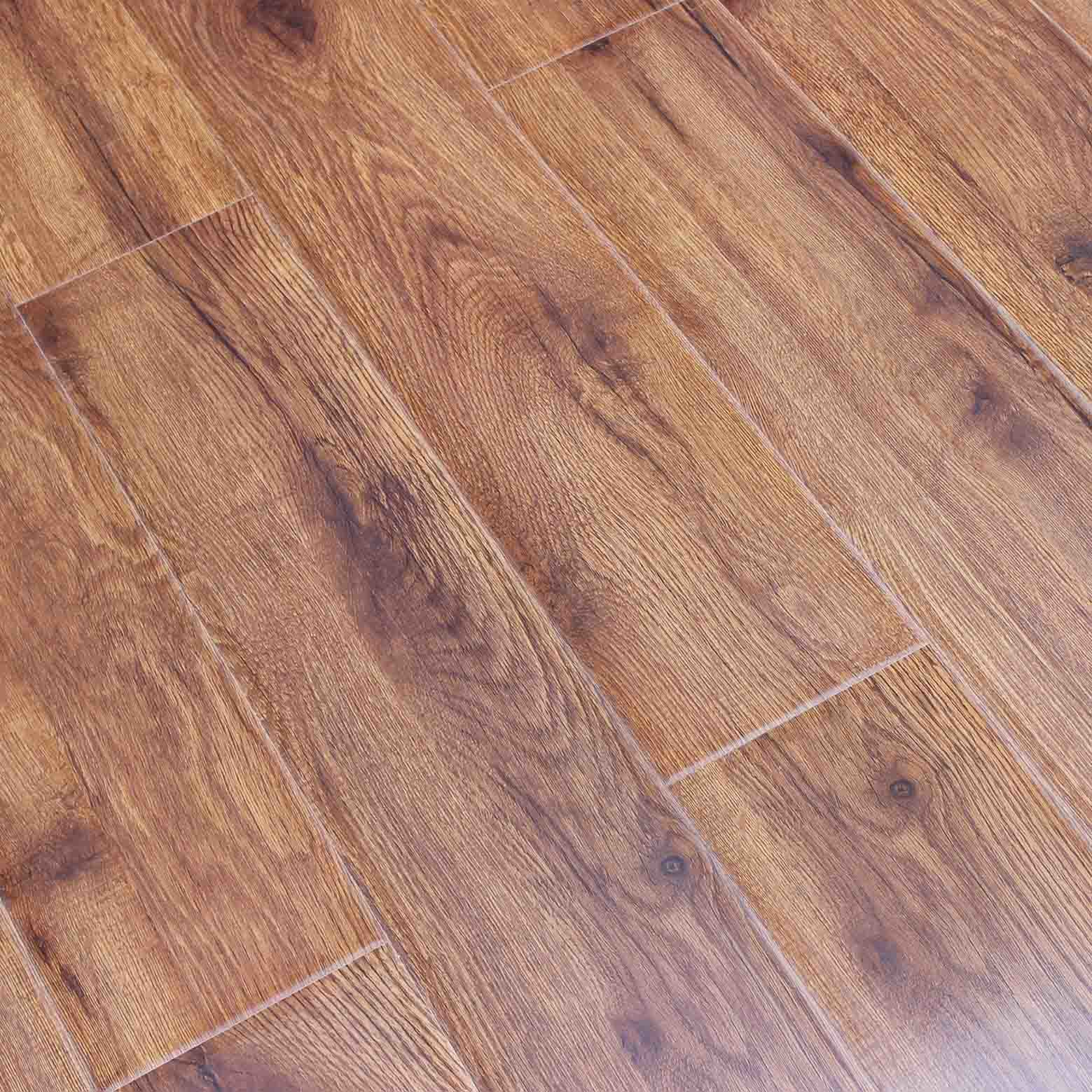China 12mm Hdf Brown Core Laminate Flooring With Waxed Floor Laminated