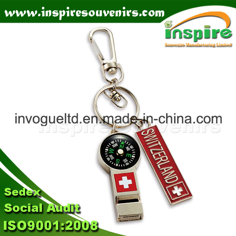 Functional Metal Key Chain with Whistle & Compass
