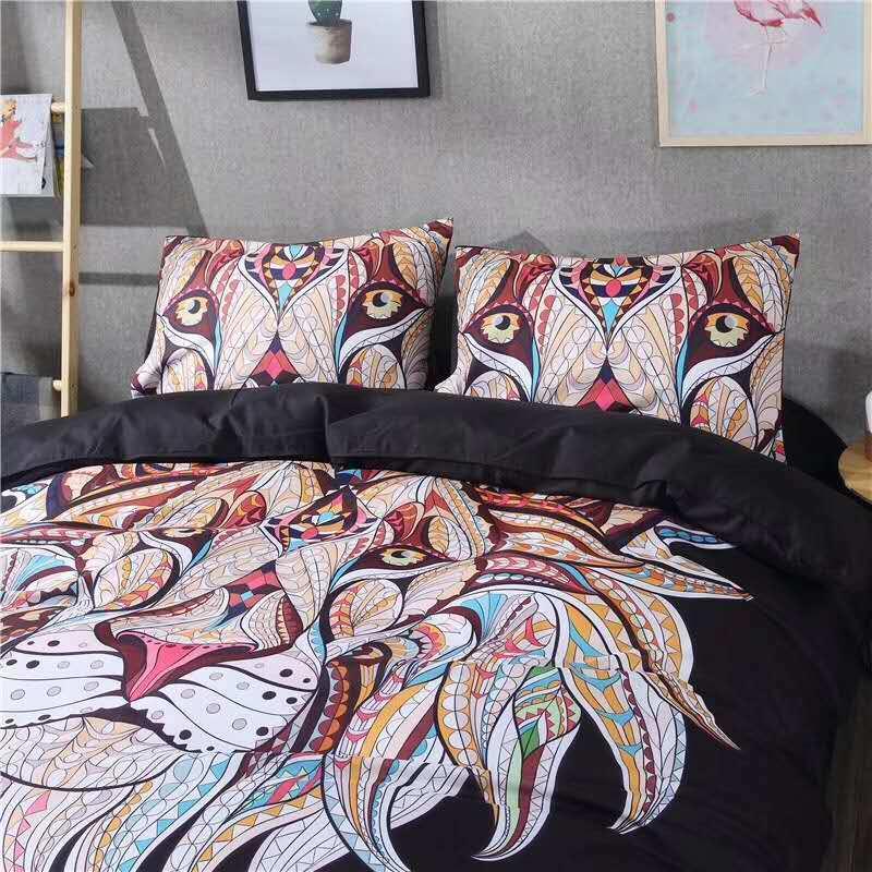 china cheap christmas microfiber polyester 3d print lion bedding