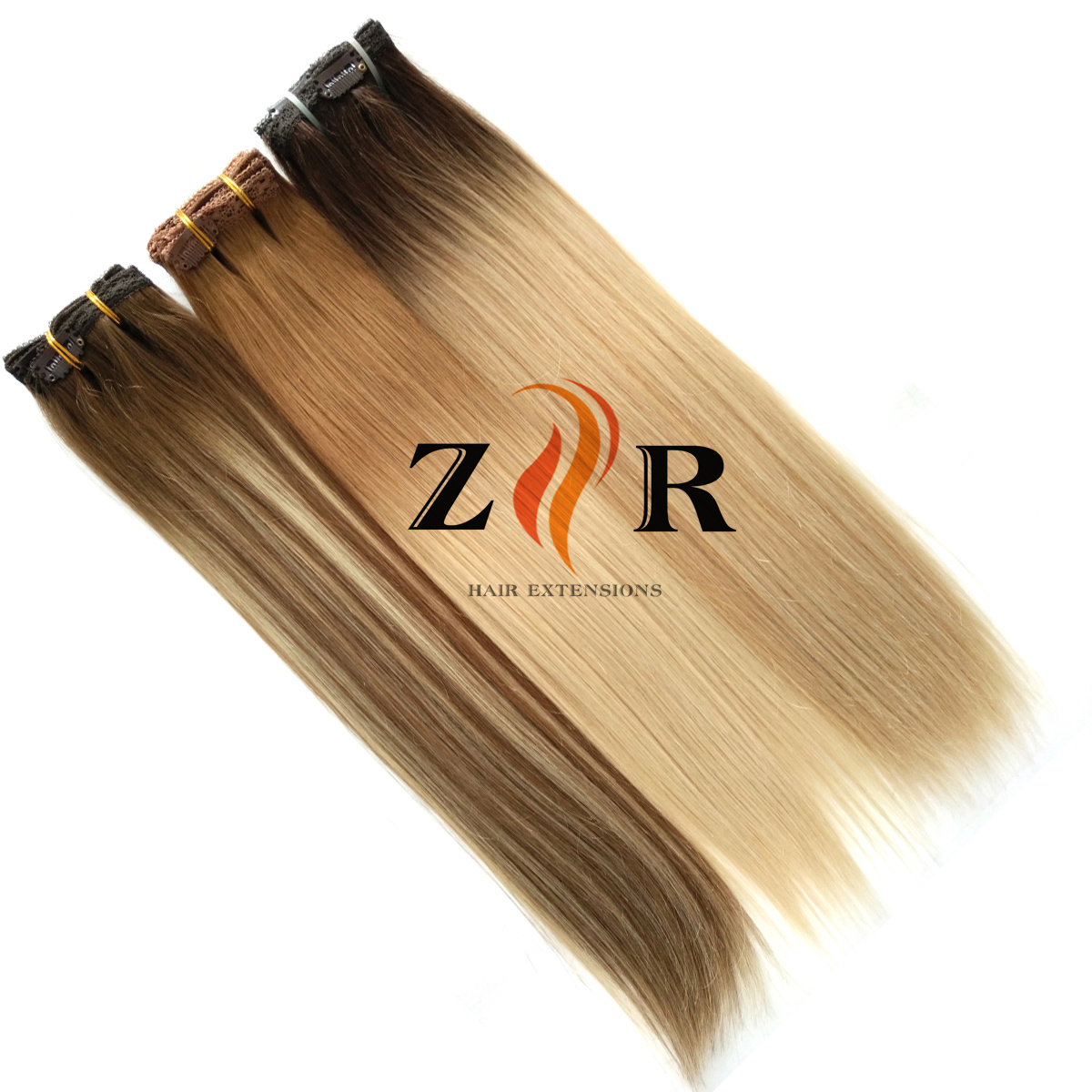 China Brown Color Double Drawn Mongolian Hair Clip In Human Hair