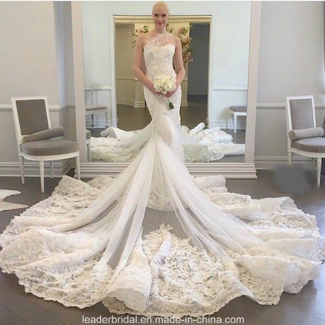 China Luxury Mermaid Bridal Gowns One Shoulder Wedding Dresses