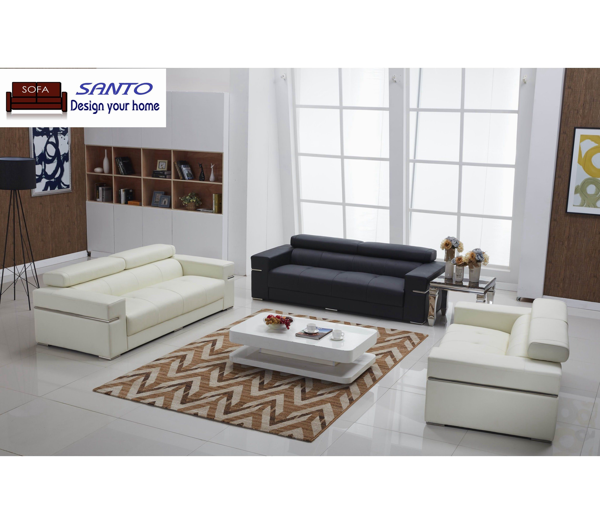Luxury Stain Steel Black Leather Sofa