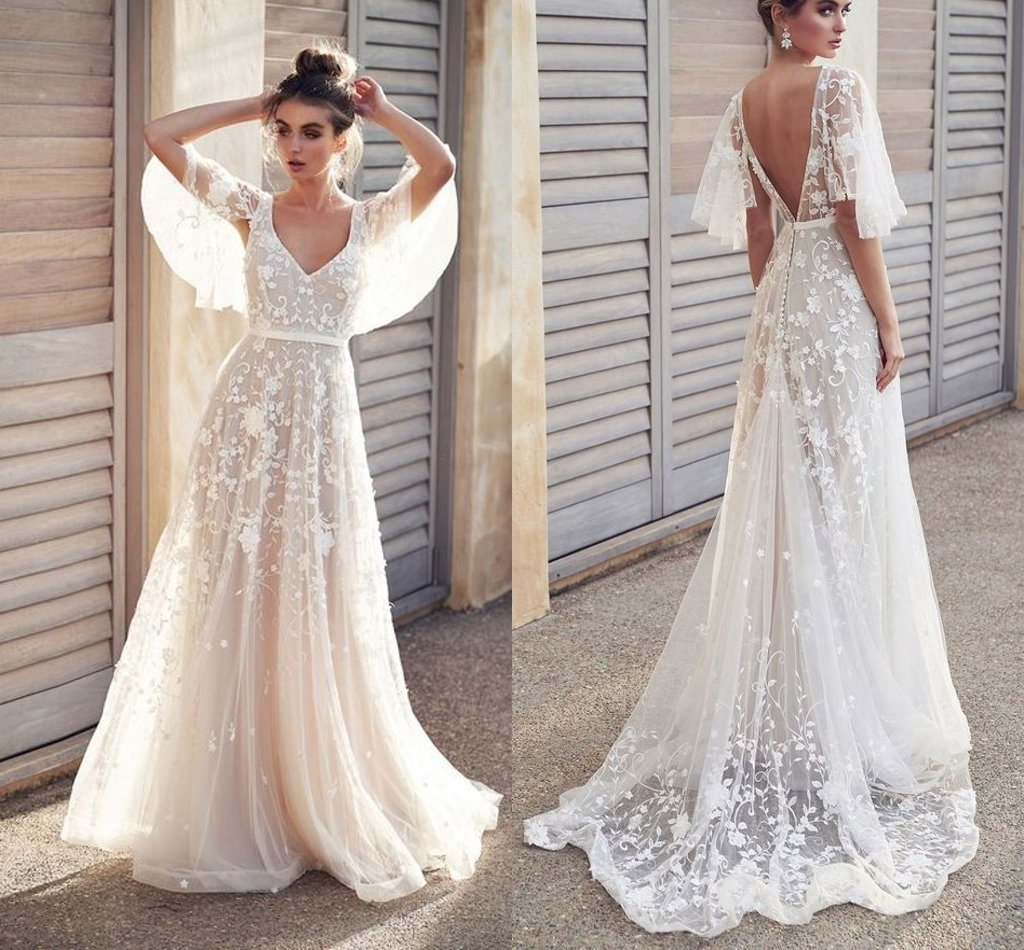 China Boho Bridal Gown Lace A-Line Simple Beach Wedding