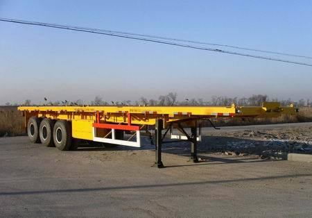 3 Axle Flatbed Semi Trailer with Spring Suspension pictures & photos