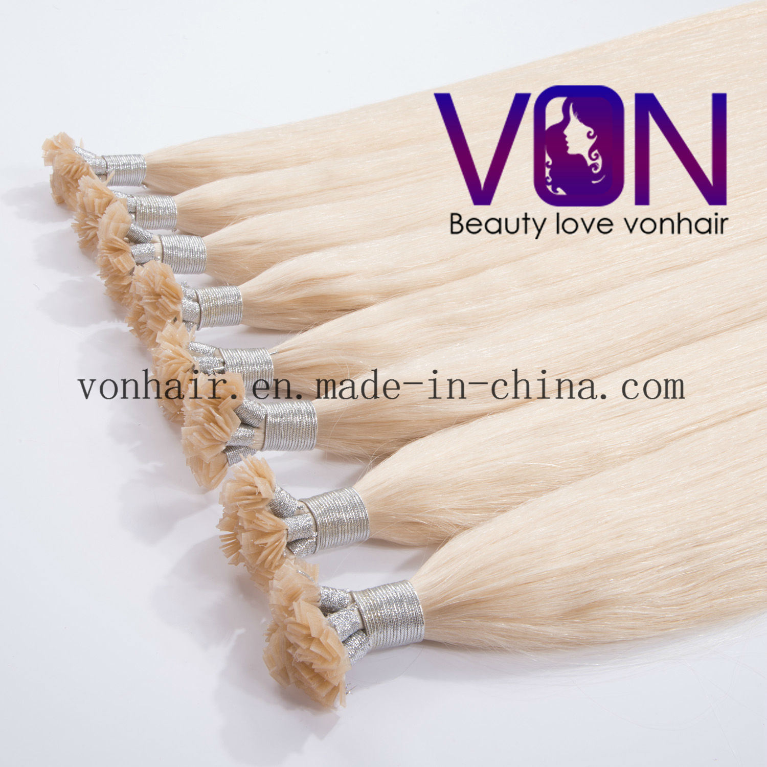 China Blonde Color 7a Grade Brazilian Hair Flat Tip Hair Extensions
