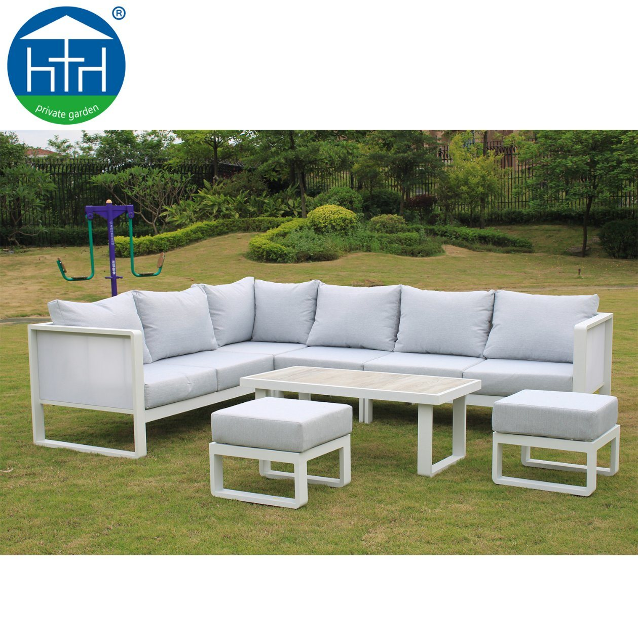 [Hot Item] Modern Outdoor Aluminium Fabric Sectional Sofa Garden Furniture
