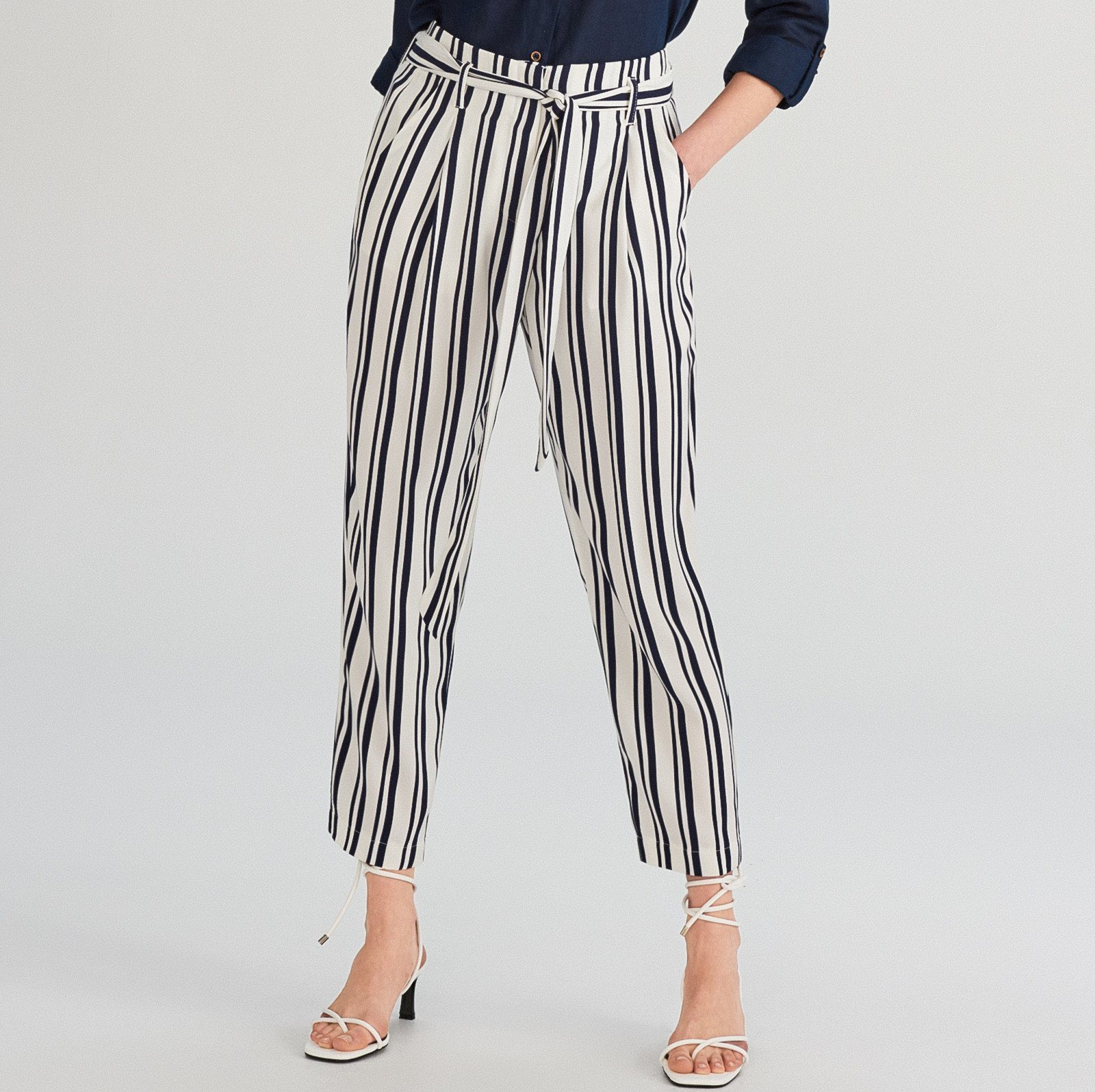 China Factory Fashion Designs Office Stripe Pencil Skinny Cropped Pants Trousers For Women China Pant And Work Trousers Price