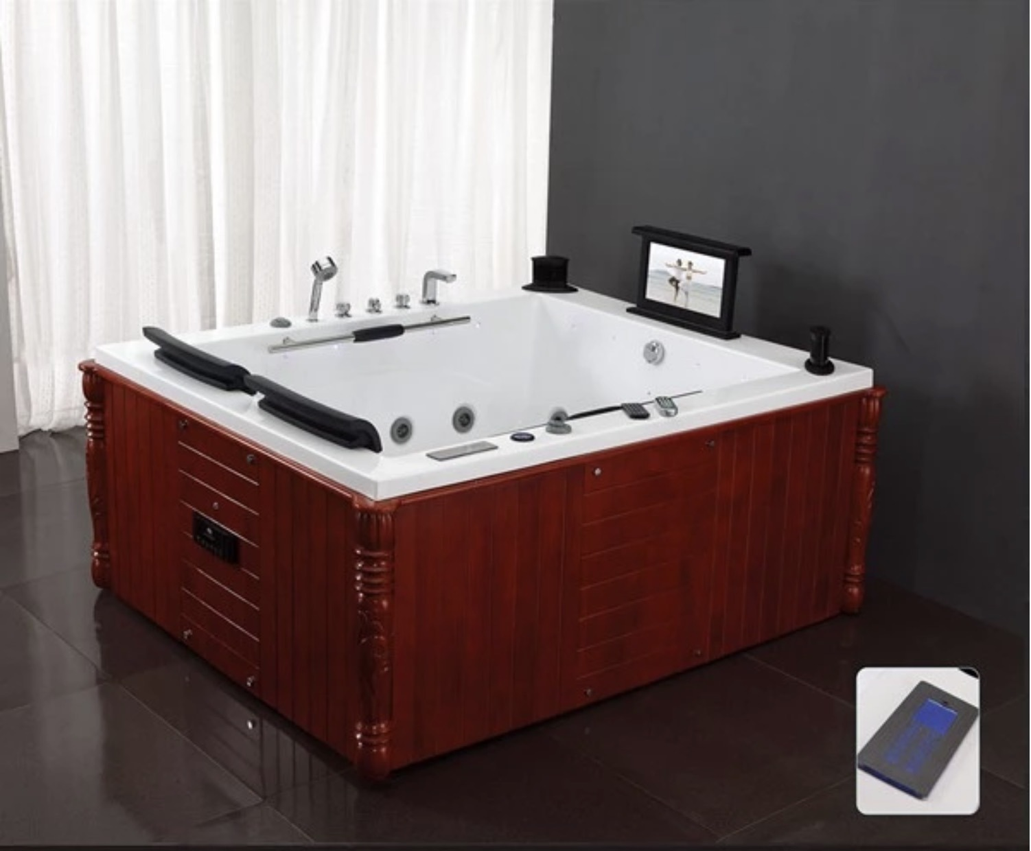 China Wooden Look Apron Luxury 2 Person Home Personal Whirlpool Bestway Indoor Spa Bathtub China Spa Bathtub Indoor Bathtub