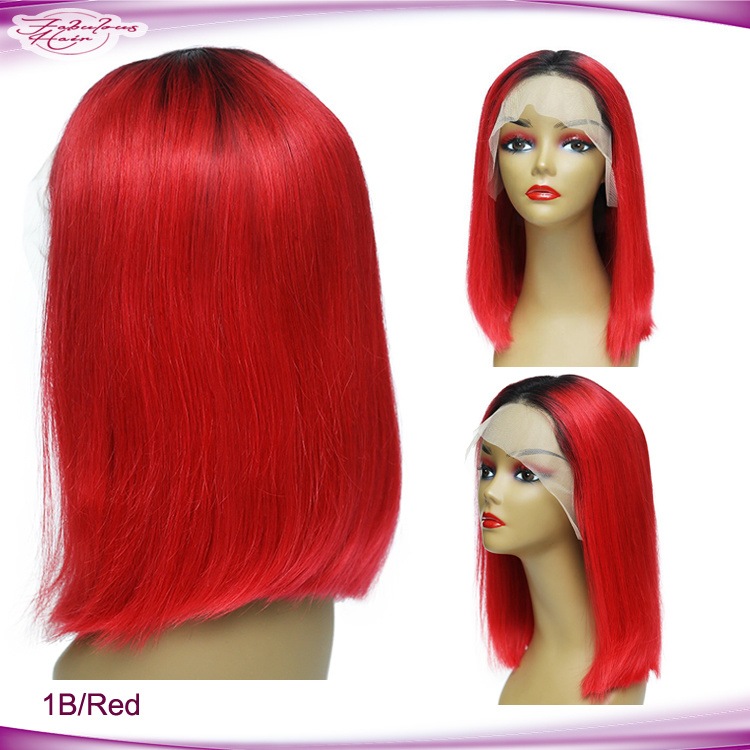 China Unprocessed 100 Natural Hair Wigs Short Hair 1b Red Bob Wigs Lace Front Wigs Photos Pictures Made In China Com