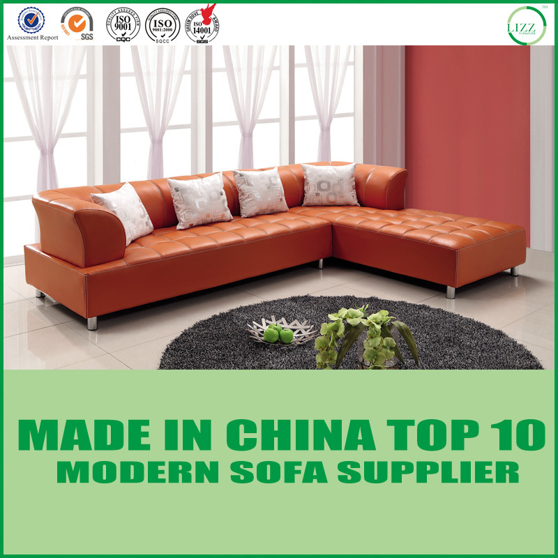 [Hot Item] Modern Living Room L Shape Sectional Orange Leather Sofa