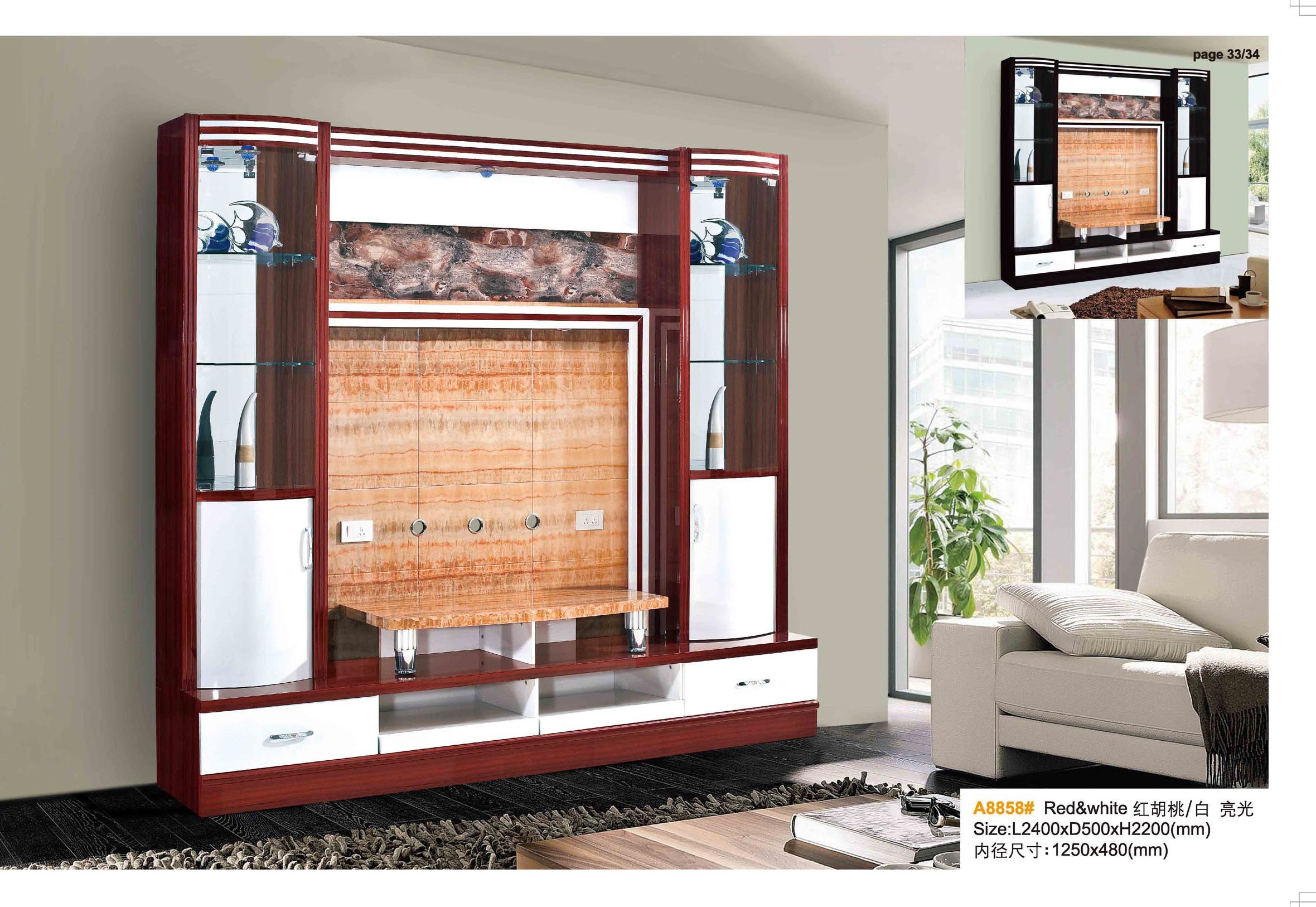 China Living Room Furniture Wooden Marble Wall TV Cabinet