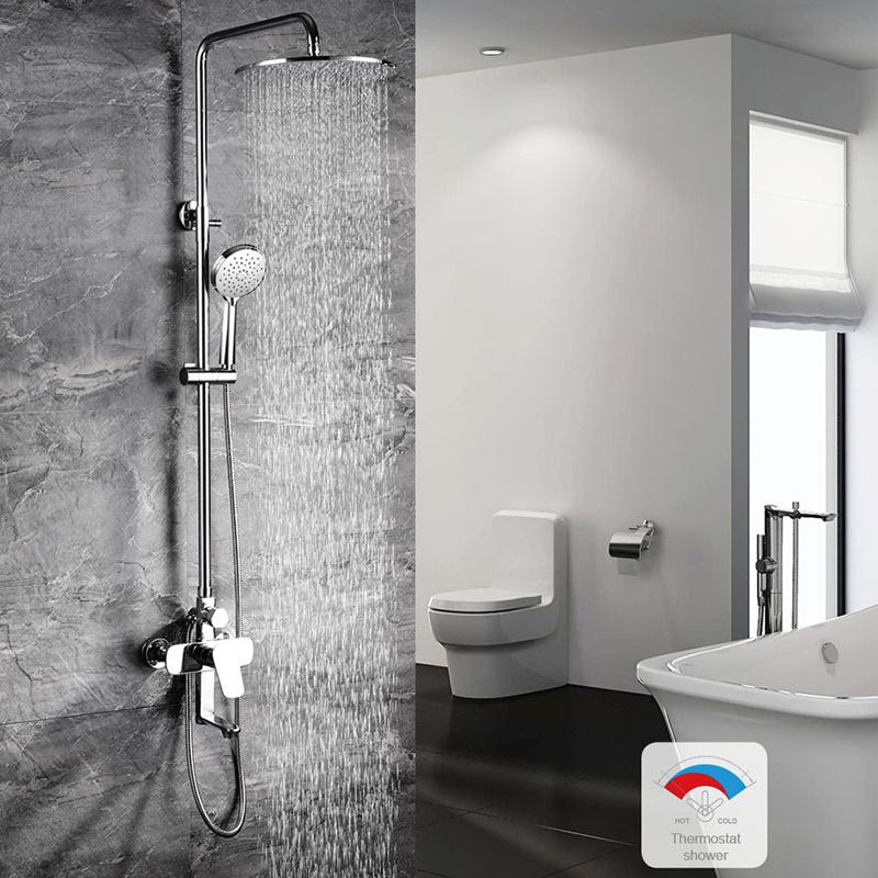 China Bathroom Accessories Rainfall Shower Head Set System Brass Chrome Bath Shower China Shower Waterproof Shower Sets