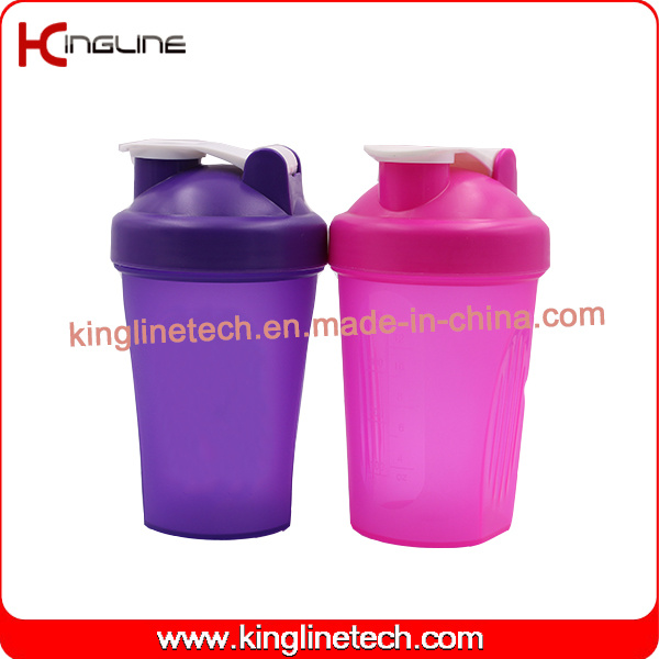 400ml plastic protein shaker bottle with shaker ball and handle(KL-7011)