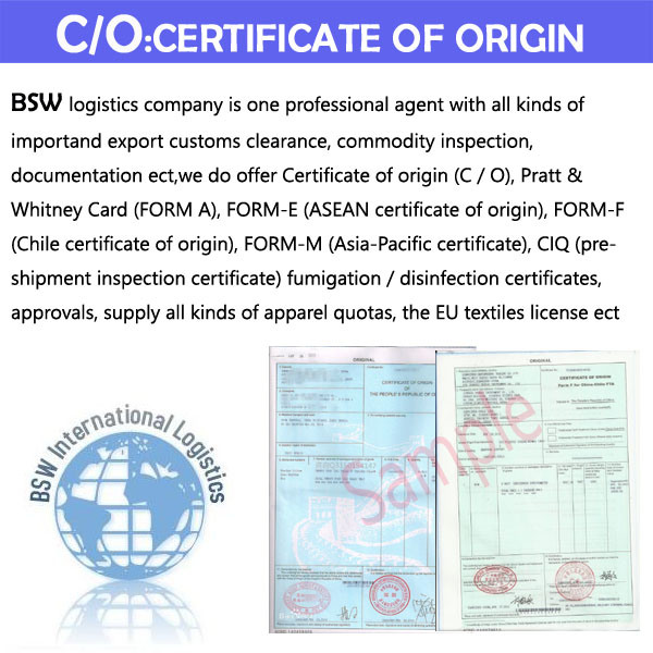China Certification of Original C/O, Form a, Form F (Chile) , M ...