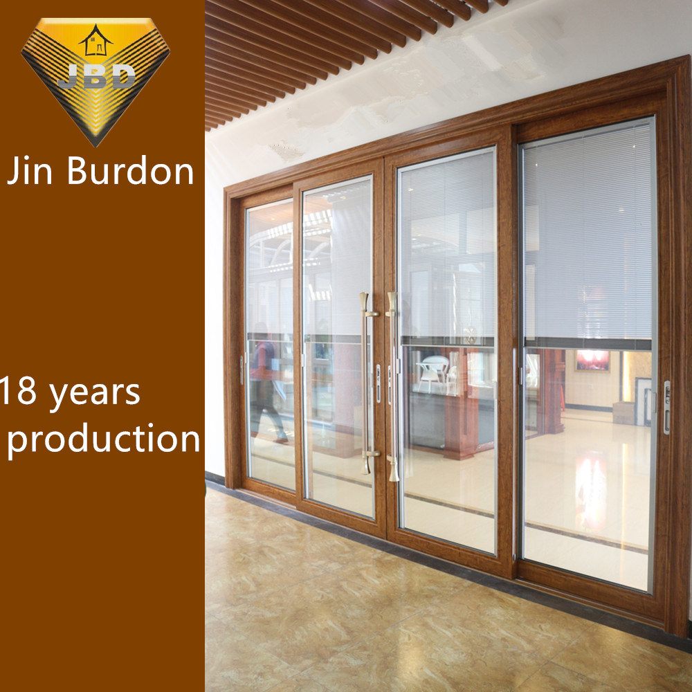 China Aluminium Profile Sliding Soundproof Doors With Double Glass Shutter