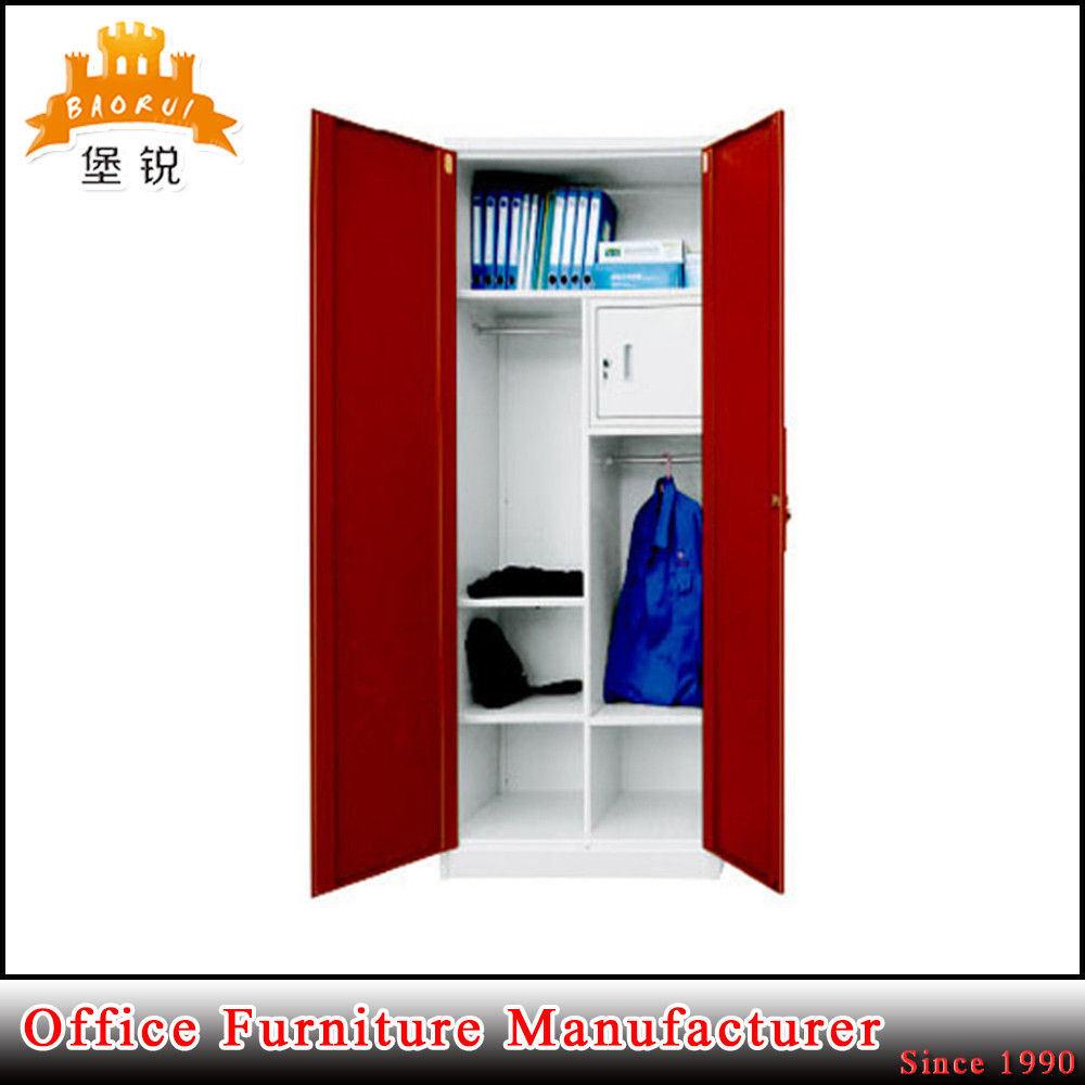 China Strong Swing Door Wardrobe With Small Inside Locker Steel Cupboard