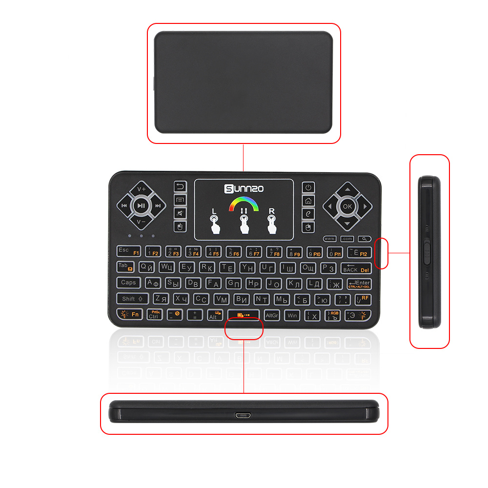 3dfe6e01ed7 Air Mouse Keyboard Q9 in Russian Mini Keyboard Support Smart TV Box, PC, Pad,  Google Android TV Box, HTPC Supoort 2.4GHz WiFi Wireless Remote Keyboard