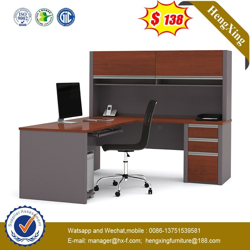 Half Round Office Desk Mahogany Color
