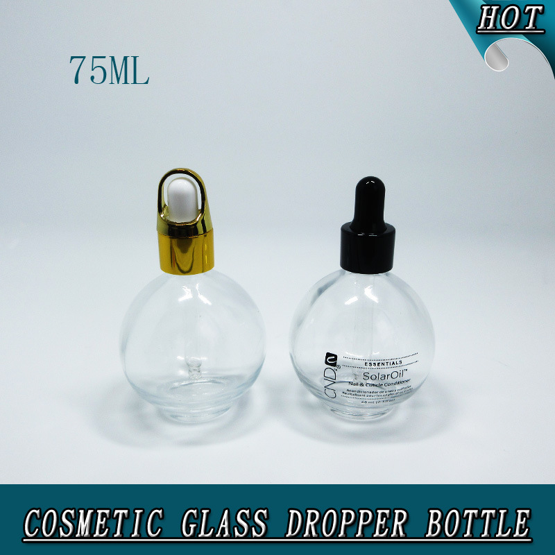 75ml Clear Cosmetic Glass Dropper Bottle 2.5 Oz Round Glass Bottle