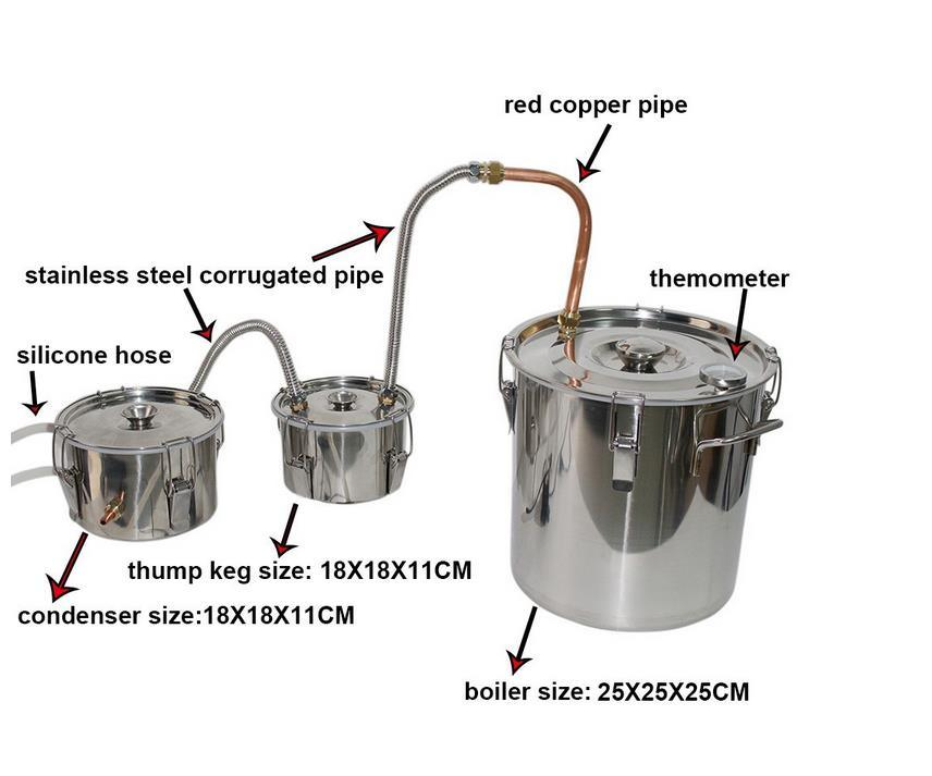 China 10 Liter Stainless Steel Pressure Cooker Distiller Alcohol Moonshine Stills China Alcohol Moonshine Stills 10 Liter Stainless Steel Pressure Cooker