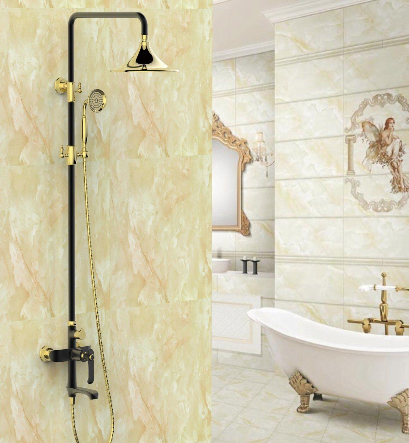 Hot Item New Black Design Ceramic Single Gs3185h Antique Brass Rain Shower Set