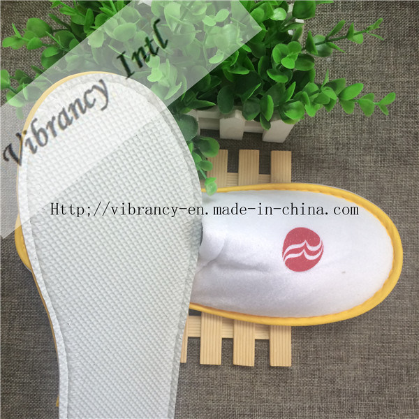 Good Quality Hotel Velvet Close EVA Embroidery Logo Cloth Wrapping Slipper