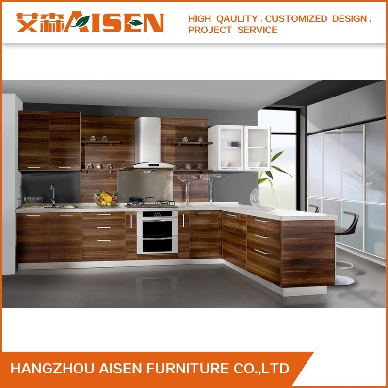 China Custom Made Modern Wood Grain Melamine Kitchen Cabinet China