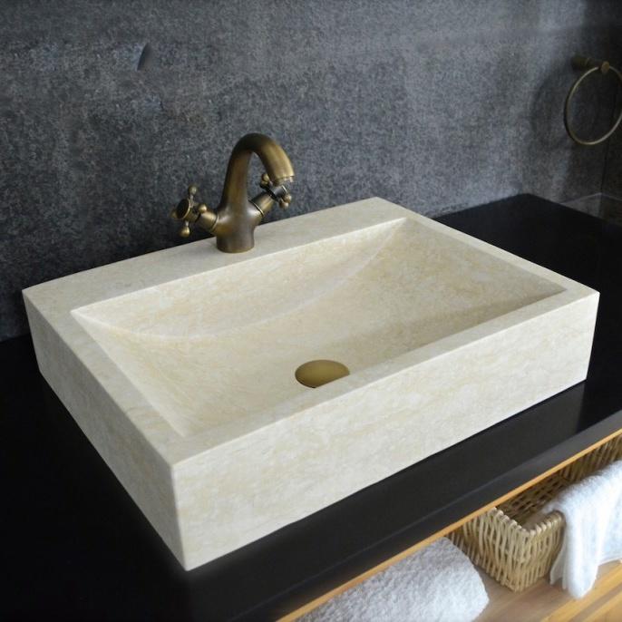 Rectangular Natural Stone Vessel Sink
