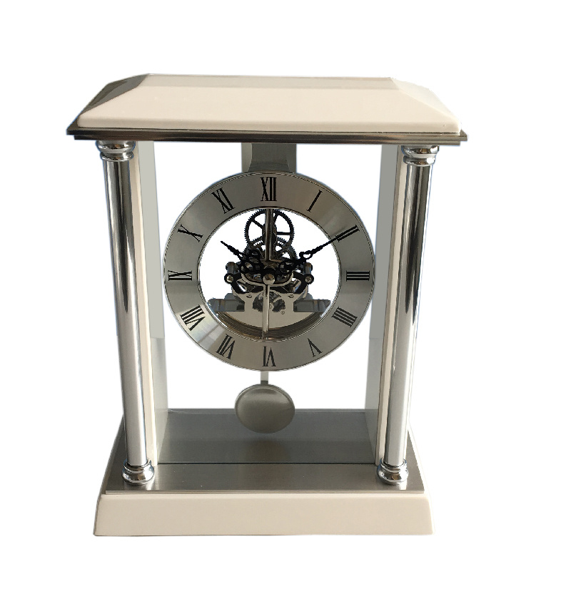 China Nice White Piano Wooden Desk Clock With Pendulum Table