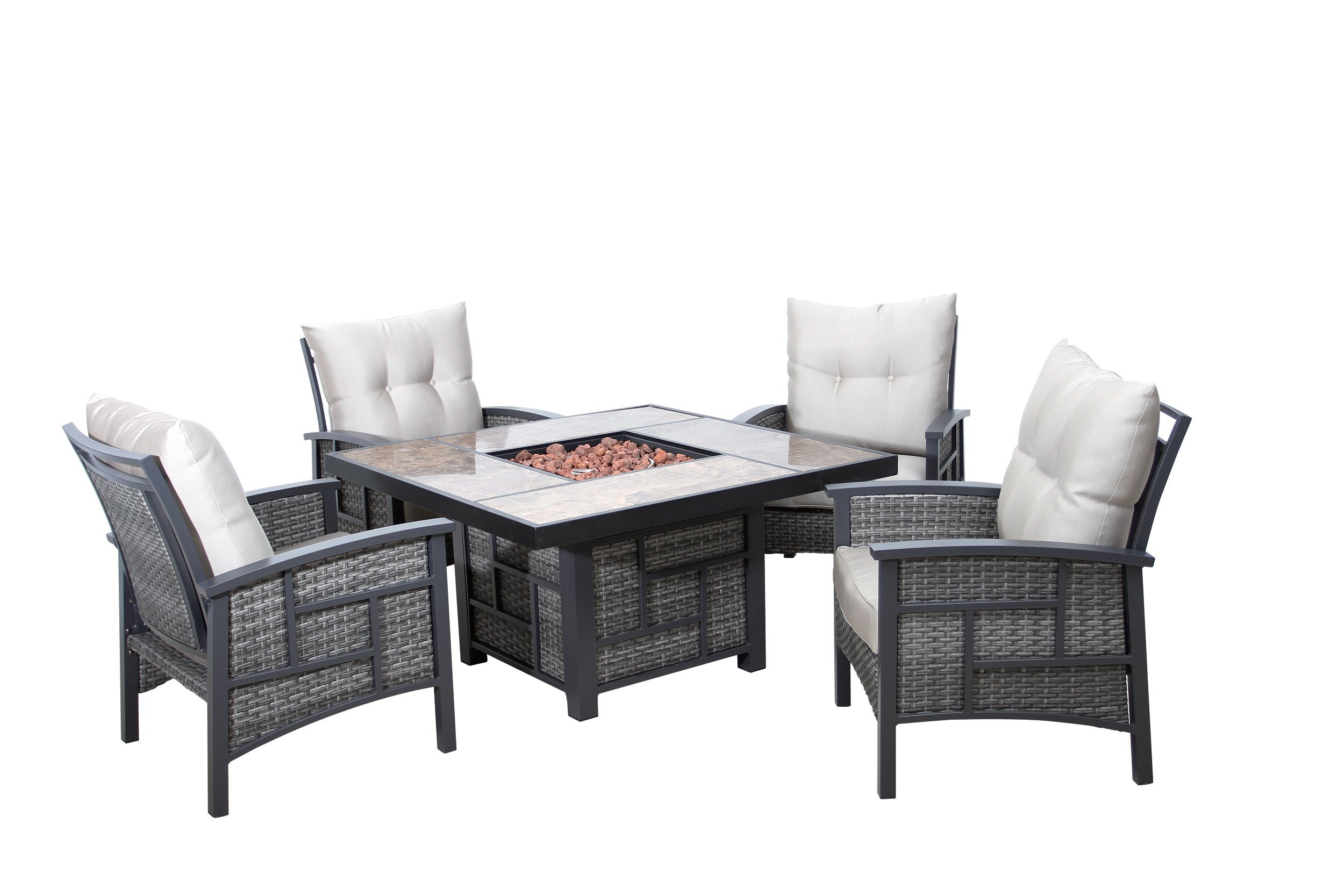 Image of: China Garden Modern Hotel Fire Pit Table And Rattan Dining Chair Home Outdoor Heater Wicker Furniture China Garden Furniture Furniture