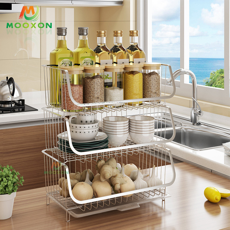 China Metal Kitchen Fruit Storage Organizer Rack Stackable Vegetable Basket Utility Shelf Photos Pictures Made In China Com