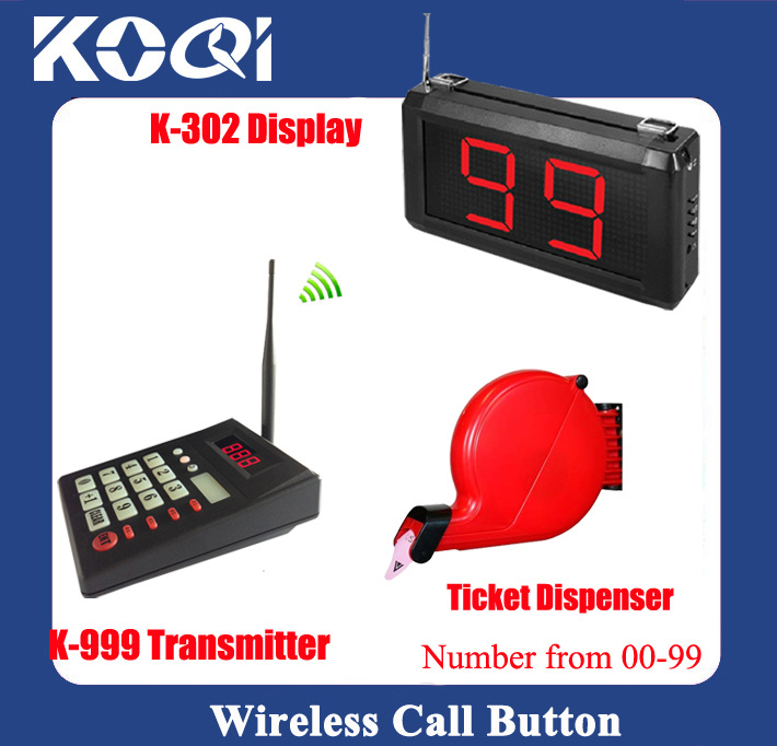 Wireless Equipment Restaurant Queue Call Ordering Service with Ticket Dispenser in 433.92MHz