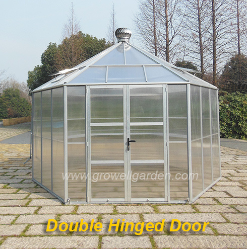 Hexagonal Greenhouse, Double Sliding Door or Hinged Door, Stronger Frame, Large Size
