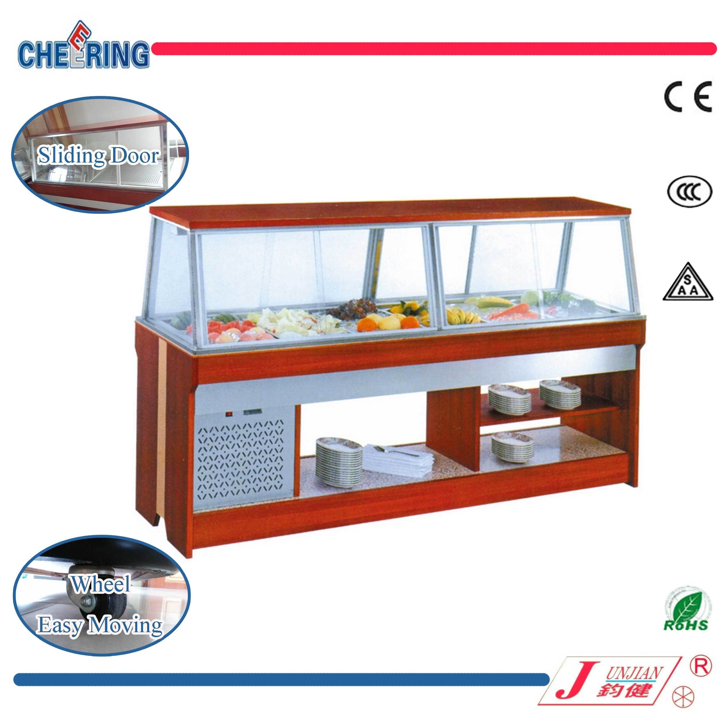 China Cheering Sliding-Door Fan Cooling Salad Bar Display