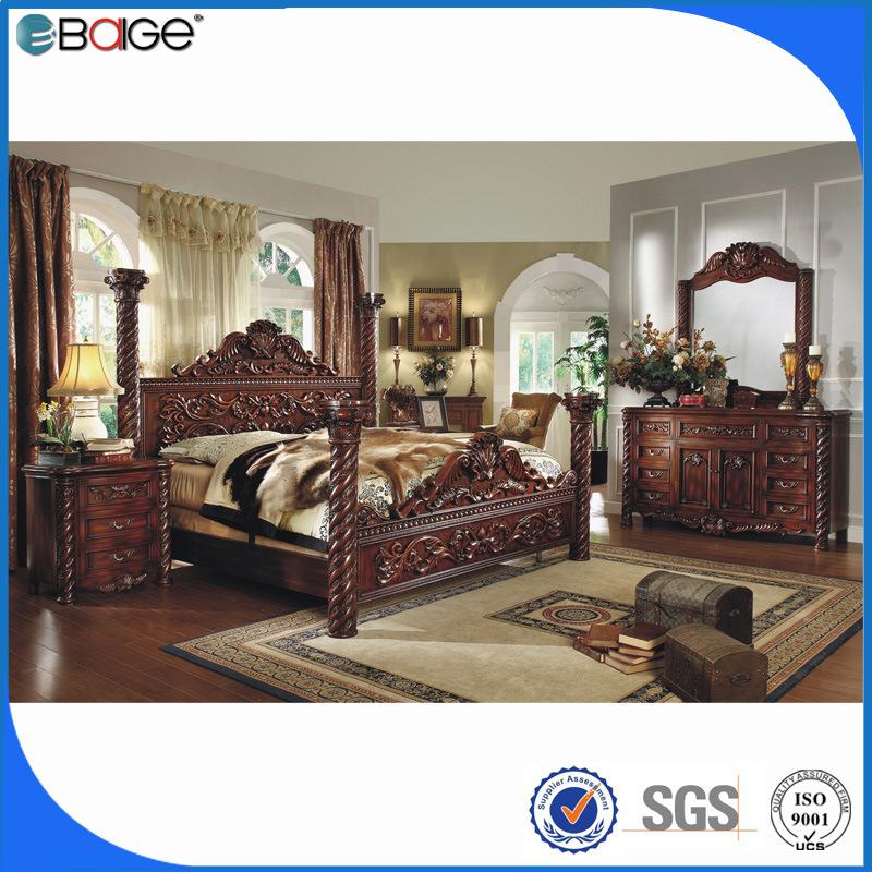 [Hot Item] Antique Bedroom Furniture Set Wood Bed