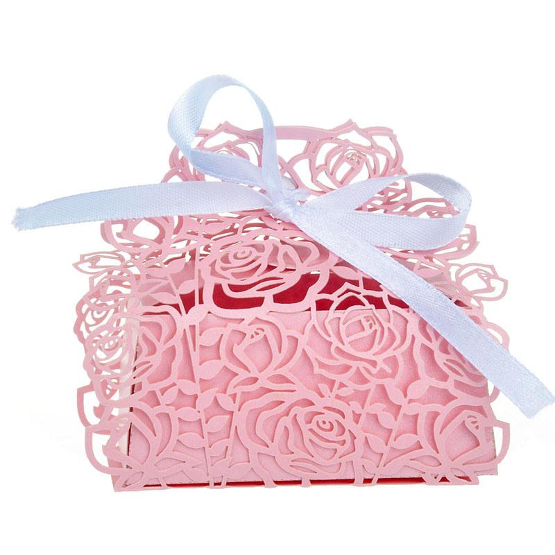 China Rose Flower Laser Cut Wedding Box Wedding Favors Candy Box