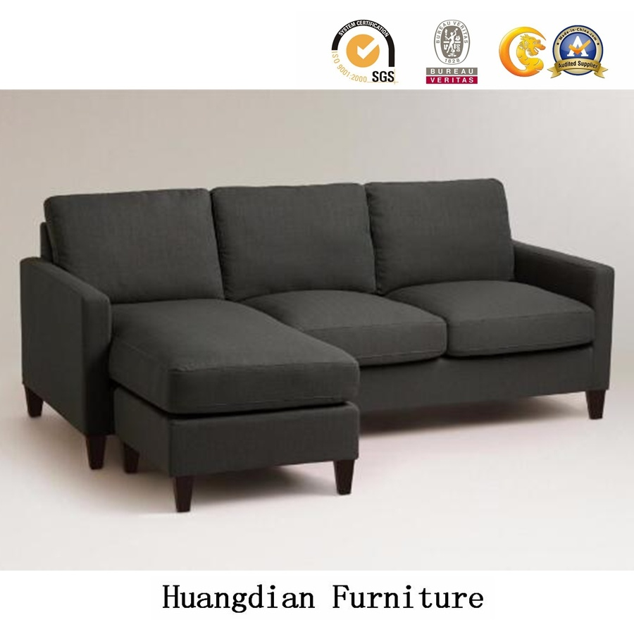 L Shape Dark Grey Fabric Sectional Sofa