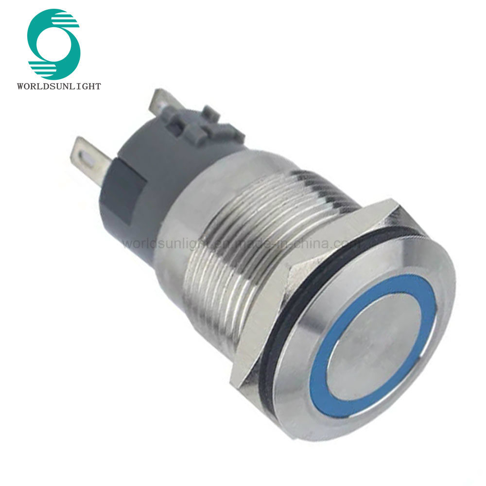 China Xl19s2 F11l 12vb R Ip67 12v Blue Led Ring Illuminated Latching Pushbuttons Momentary And On Off Switch In White Stainless Steel Push Button Metal