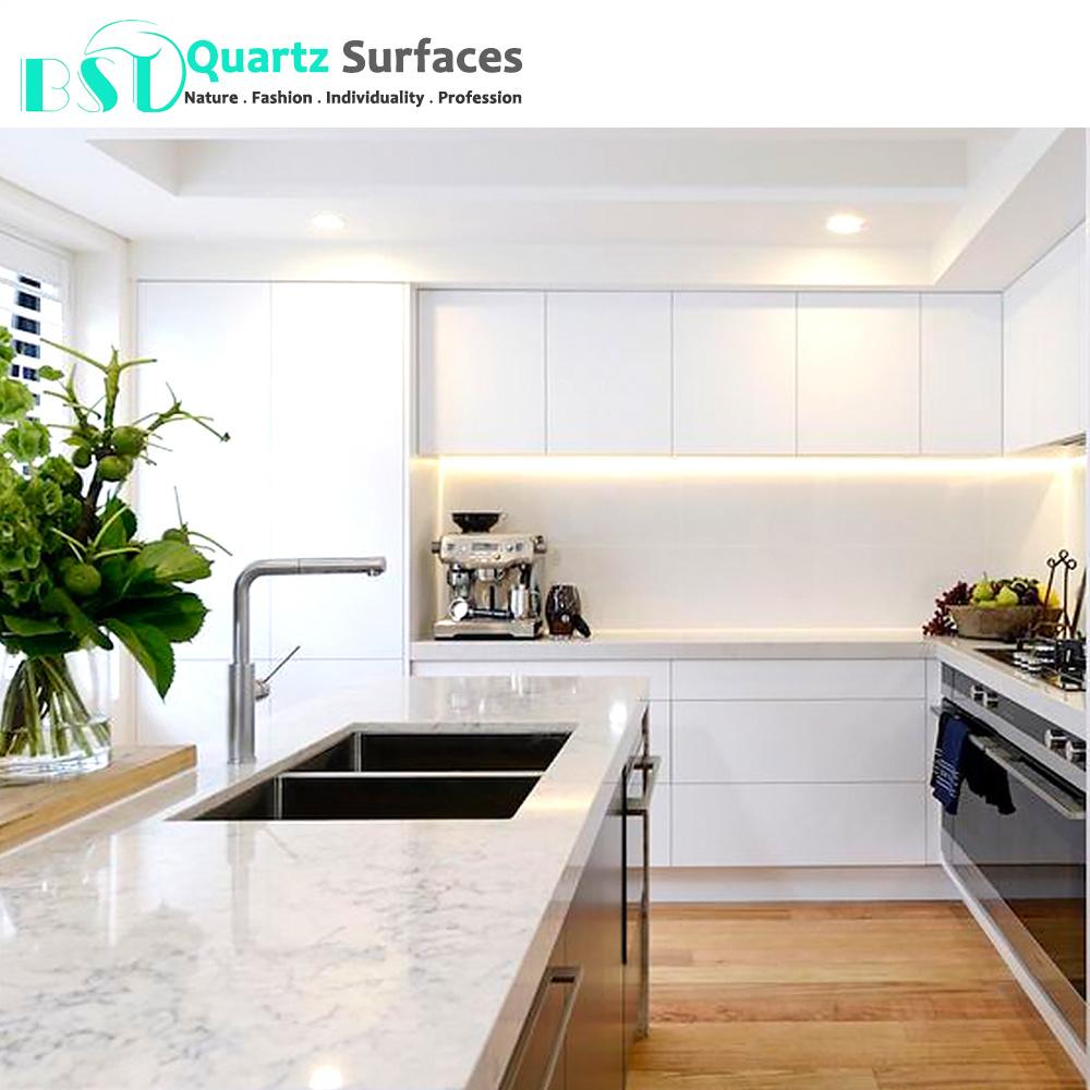 China Carrara White Quartz Kitchen Countertops Photos Pictures