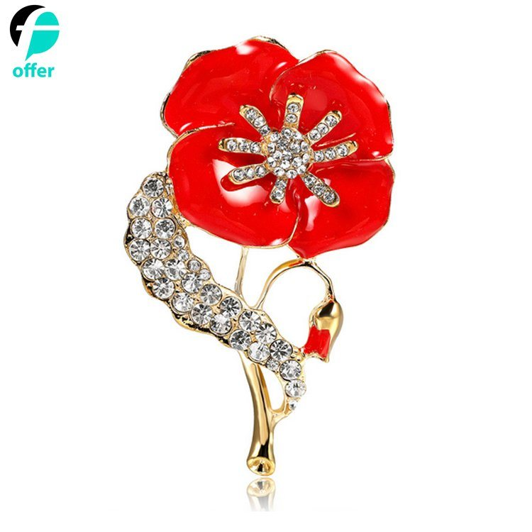 China Poppy Brooches Remembrance Red Flower Rhinestone Badges