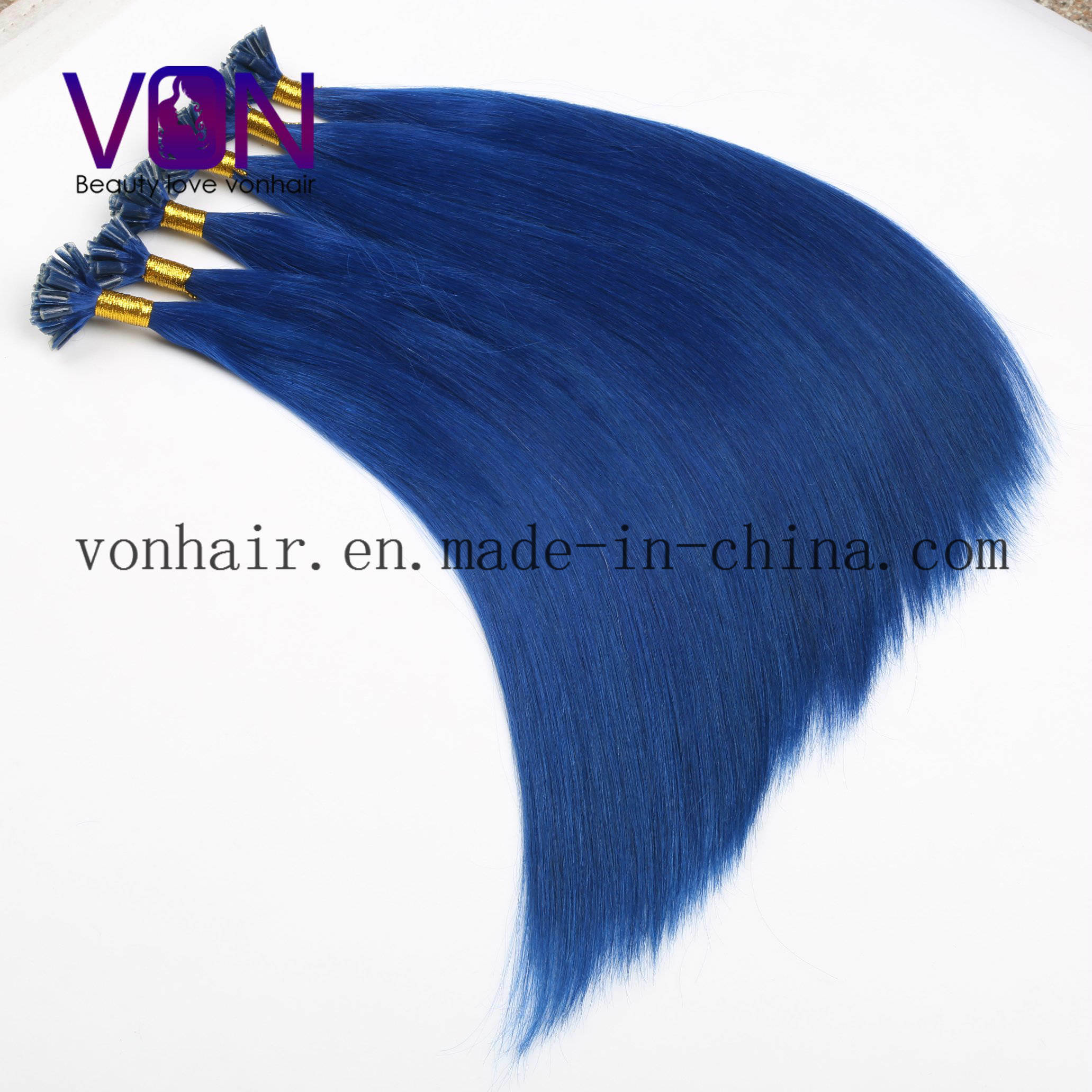 China Blue Brazilian Hair U Tip Human Hair Extensions With Wholesale