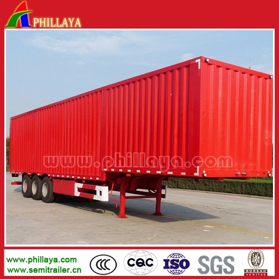 3 Axles Steel Aluminum Strong Box Side Curtain Truck Semi Trailer with Side Back Doors pictures & photos