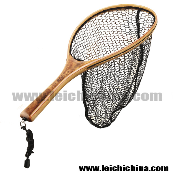 Fly Fishing Wooden Frame Nylon Landing Net with Bottom