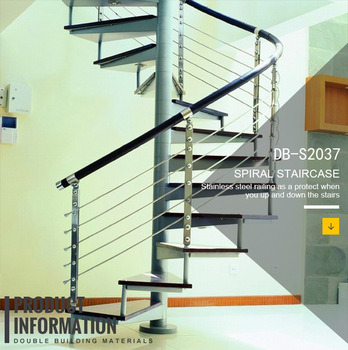 Contemporary Carbon Steel Spiral Staircase With PVC Handrail