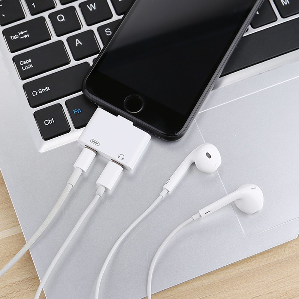 2 in 1 Lightning Audio Headphone Adapter Charger Splitter Cable For iPhone 7 8 X