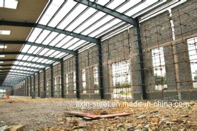 China Steel Structure Frame Warehouse With Brick Wall For